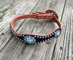 BLACK GATOR SCALLOP DOG COLLAR W/ AB & AQUA RHINOSTONE CONCHOS & BUCKLE