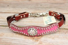 Rose Pink Gator/Chestnut Leather Wither Strap w/AB Crystal Rhinestone Concho