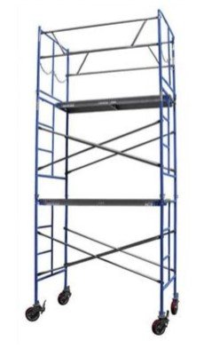 CONTRACTOR SCAFFOLDS OUTDOOR TOWER SET 10FT HIGH (14FT WITH SAFETY RAIL) 6 FT LONG, 3.5' WIDE 2000 LBS CAPACITY