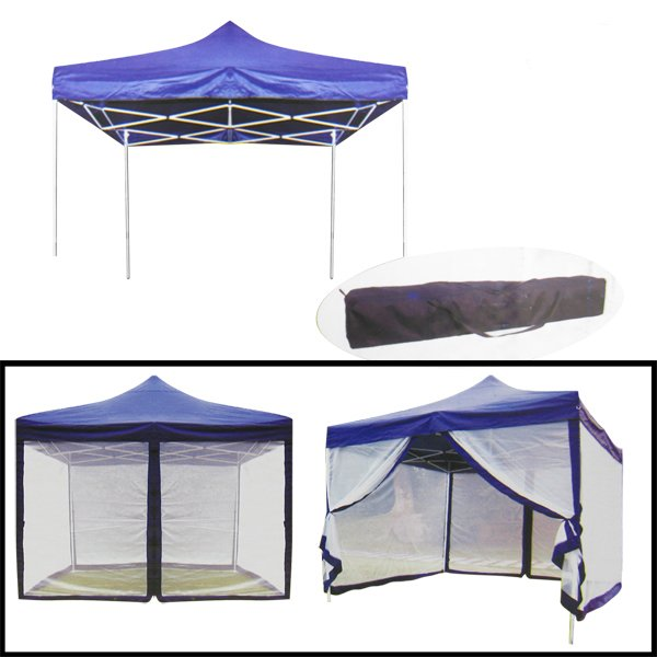 10 X 10 FOLDABLE AND PORTABLE CANOPY WITH MOSQUITO NET BLUE