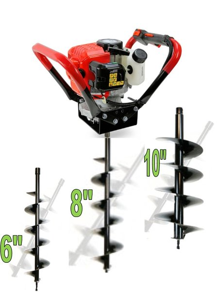 "52CC GAS POST HOLE DIGGER With 3 bits 6"",8"",10"""