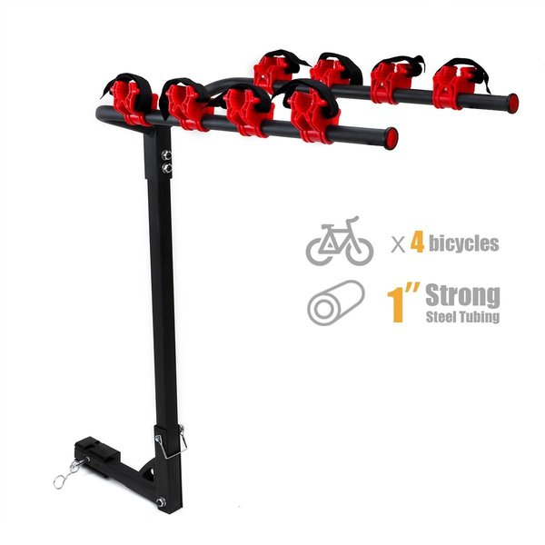 """Hitch Mounted 4 Bike Rack Carrier 1-1/4' & 2"""" Hitch Receiver"""