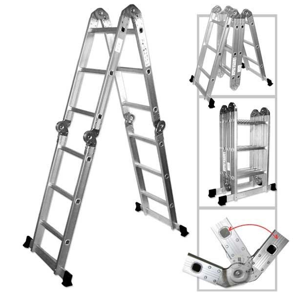Multipurpose Multiple Position 12 Step Aluminum Folding Ladder