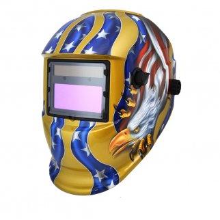 AUTOMATIC WELDING HELMET MMA /MAG MIG /TIG SWITCH GOLD EAGLE FLAG