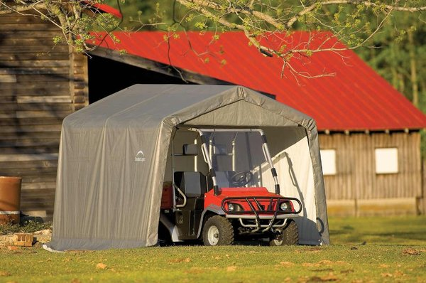 Canopy Storage Shelter Shed Grey Cover 10x10x8ft / 3x3x2.4m Peak Style