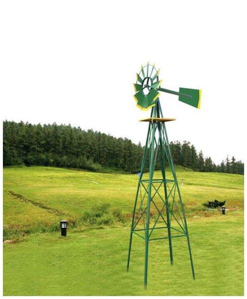8FT Green Metal Windmill Yard Garden Decoration Weather Rust Resistant Wind Mill