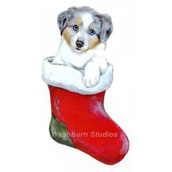 Australian Shepherd blue merle Puppy Christmas Ornament  DW