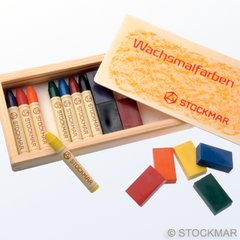 Stockmar Wax Crayons - 8 Crayons + 8 Blocks in Wooden Box