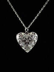 Heart Locket Platinum Colored Diffuser Necklace