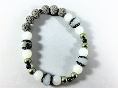 Diffuser Beaded Bracelet--Green/White