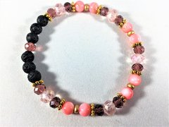 Beaded Diffuser Bracelet-Pink and Mauve