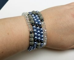 Beaded Diffuser Bracelet- Blue and Clear