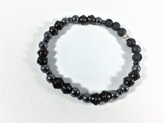 Beaded Men's Diffuser Bracelet - Black, Gray, Silver