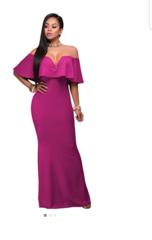 V Neck Ruffle Maxi Party Dress
