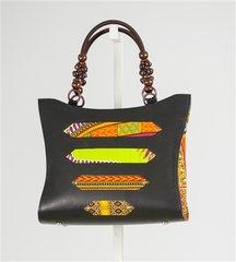 Tribal Print Beaded Handbag
