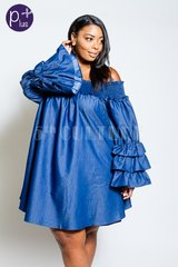 "Denim Smocked Ruffle Sleeve ""Dacia"" Dress"