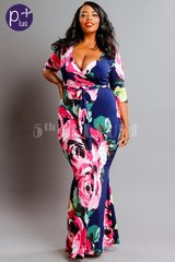 Big Roses Printed Surplice Mermaid Maxi Dress