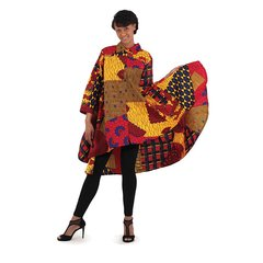 African Print High Low Shirt