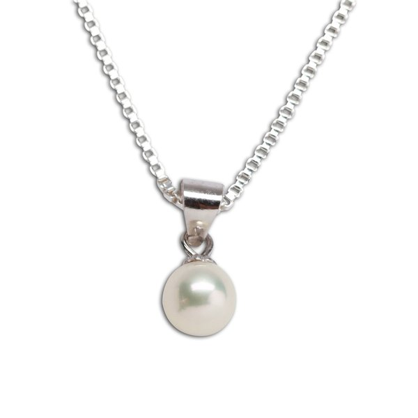Childrens sterling silver pearl pendant necklace for girls sterling silver pearl pendant necklace bcn pearl mozeypictures Image collections