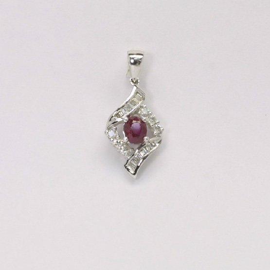 18K W/G Diamond Ruby Pendant