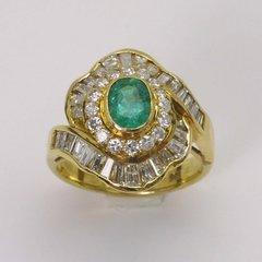 14K Y/G Diamond Emerald Ring