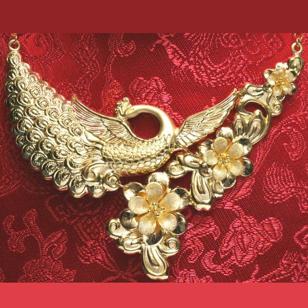 24K Phoenix Flower Necklace