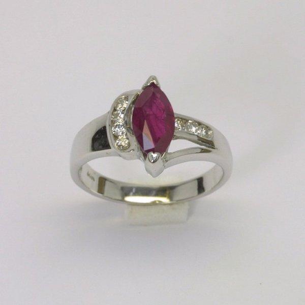 14K W/G Diamond Ruby Ring