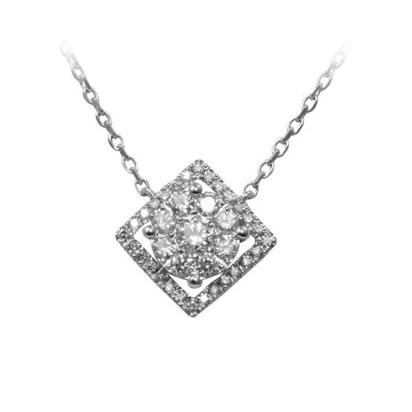 18K W/G Diamond Pendant with Chain