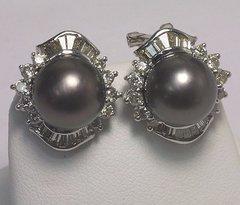 18K W/G Diamond Black South Sea Pearl Earrings