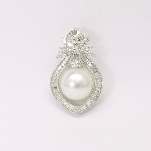18K W/G Diamond South Sea Pearl Pendant