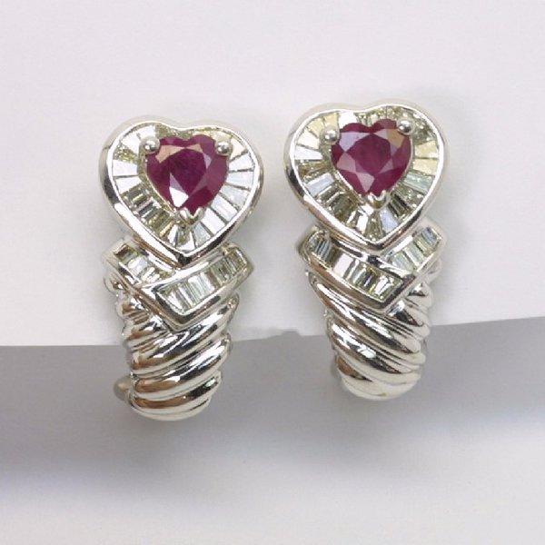 18K W/G Diamond Ruby Earrings
