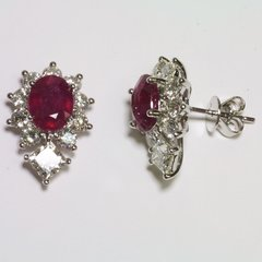 18K White Gold Diamond Ruby Earrings