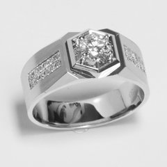 18K White Gold Diamond Men Ring