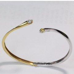 18K Two Tone Diamond Bangle