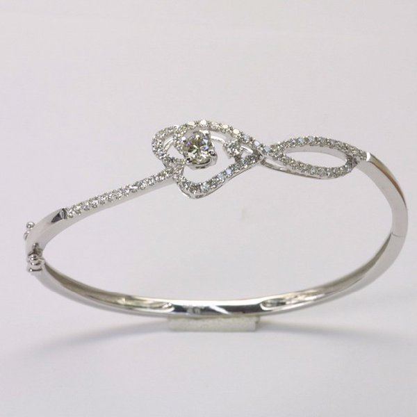 18K W/G Diamond Bangle