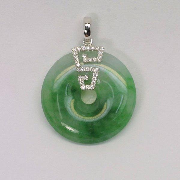 18K W/G Diamond Jade Pendant
