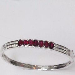 14K W/G Diamond Ruby Bangle