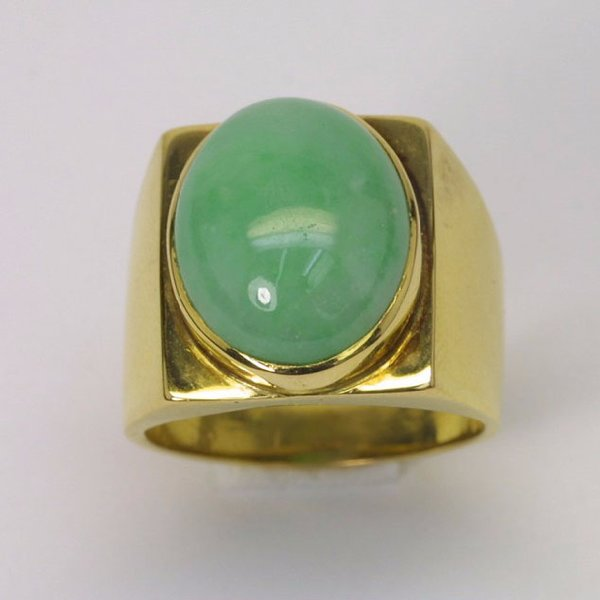 18K Y/G Jade Ring