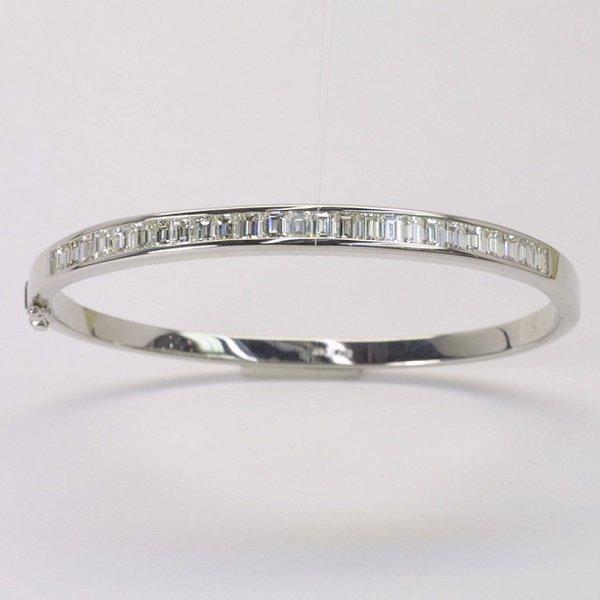 14K W/G Diamond Bangle