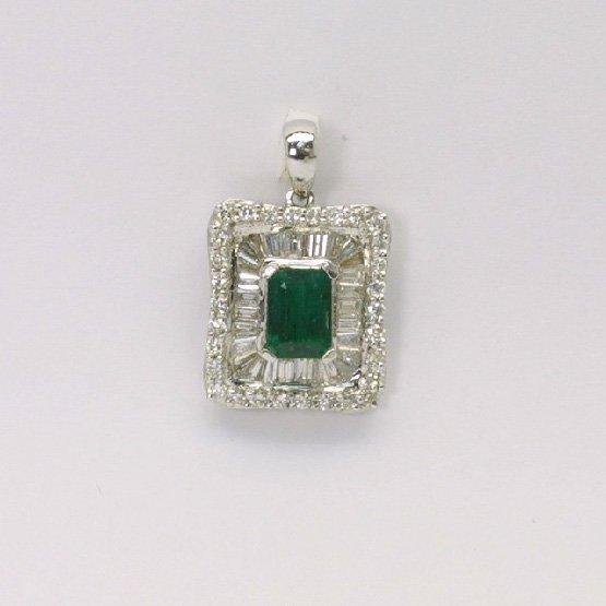 18K W/G Diamond Emerald Pendant