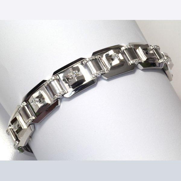 18K White Gold Diamond Men Bracelet