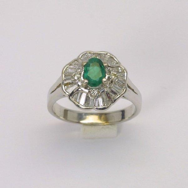 14K W/G Diamond Emerald Ring