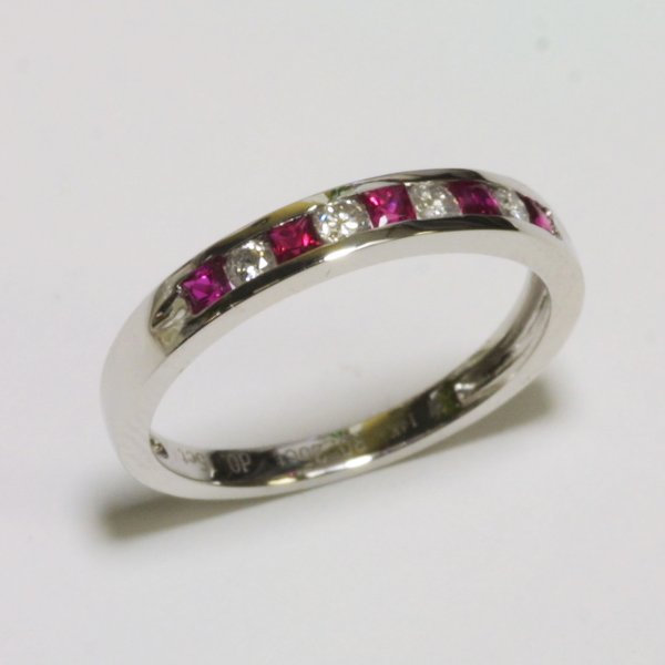 14K White Gold Diamond Ruby Ring