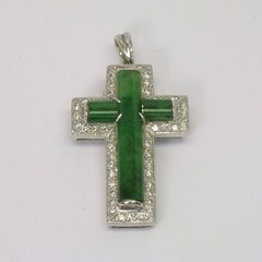 18K W/G Diamond Jade Cross Pendant