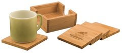BAMBOO SQUARE 4-COASTER SET WITH HOLDER