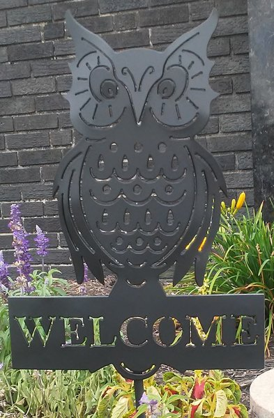 Owl Shaped Metal Welcome Sign Yard Garden Art Outdoor