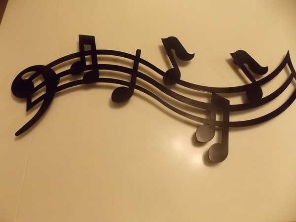 3 Feet Metal Musical Notes Wall Art in Black Finish | Cutting Edge ...