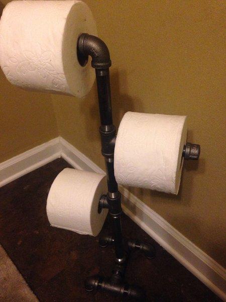 Triple Stand Industrial bathroom black pipe toilet paper holder