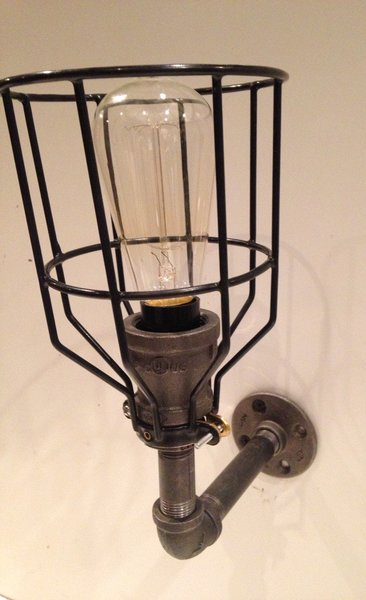 Steampunk Industrial Pipe Light Fixture With Cage Cutting Edge Craftsmen Metal Artist Art