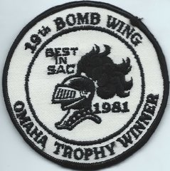 USAF PATCH 19 BOMBARDMENT WING BEST IN SAC 1981 OMAHA TROPHY (MH)